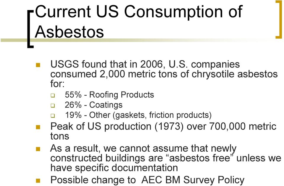 S found that in 2006, U.S. companies consumed 2,000 metric tons of chrysotile asbestos for: 55% - Roofing