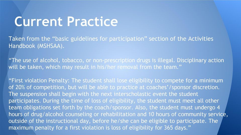 First violation Penalty: The student shall lose eligibility to compete for a minimum of 20% of competition, but will be able to practice at coaches /sponsor discretion.