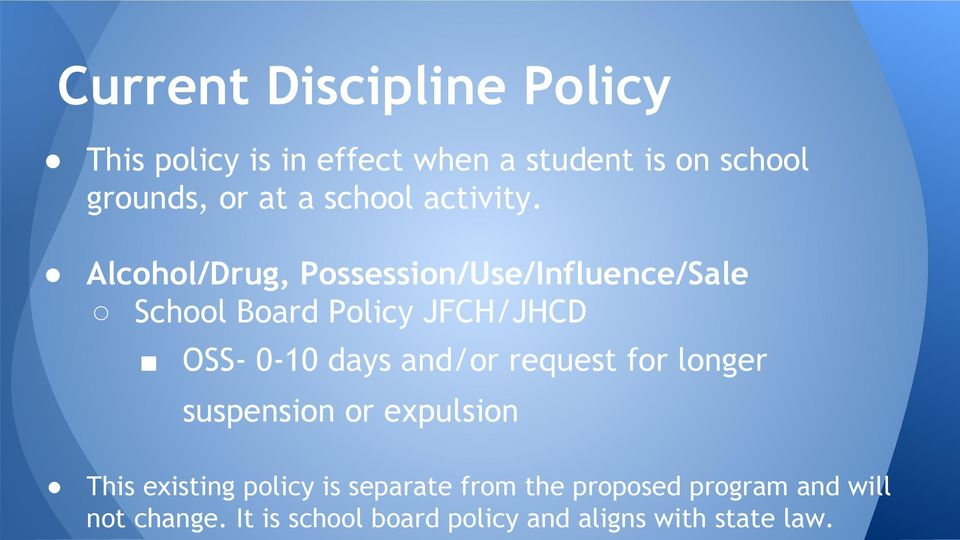 Alcohol/Drug, Possession/Use/Influence/Sale School Board Policy JFCH/JHCD OSS- 0-10 days and/or