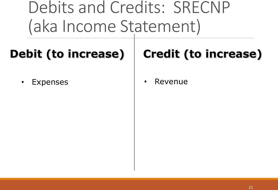 Debit (to increase) Credit