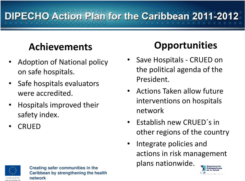 CRUED Opportunities Save Hospitals -CRUED on the political agenda of the President.