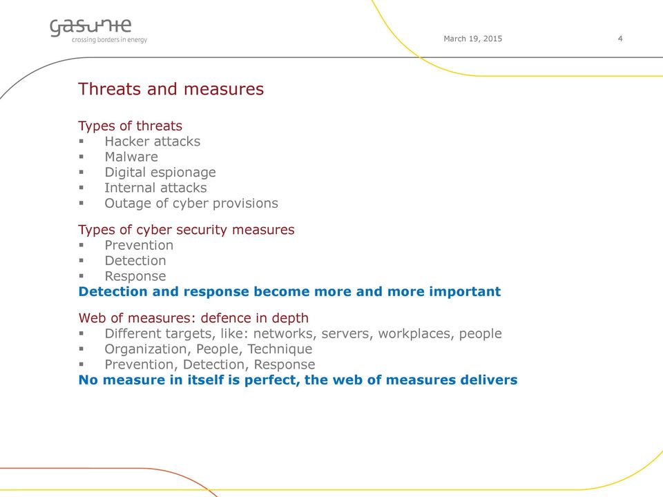 and more important Web of measures: defence in depth Different targets, like: networks, servers, workplaces, people