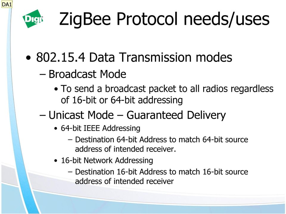 16-bit or 64-bit addressing Unicast Mode Guaranteed Delivery 64-bit IEEE Addressing Destination