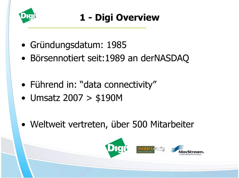 Führend in: data connectivity Umsatz 2007