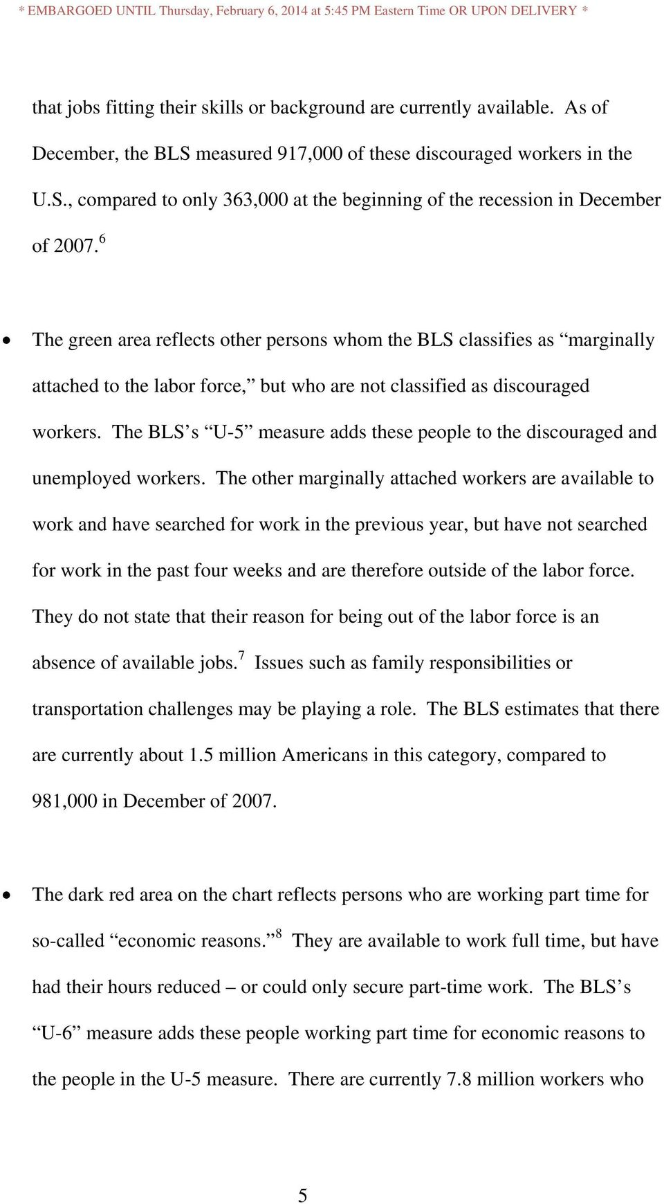 The BLS s U-5 measure adds these people to the discouraged and unemployed workers.