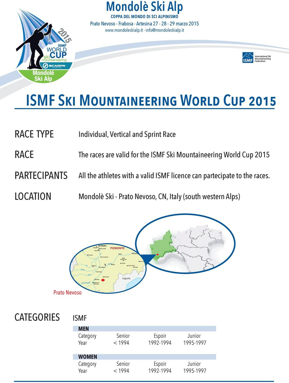 2015 PARTECIPANTS LOCATION All the athletes with a valid ISMF licence can partecipate to the races.