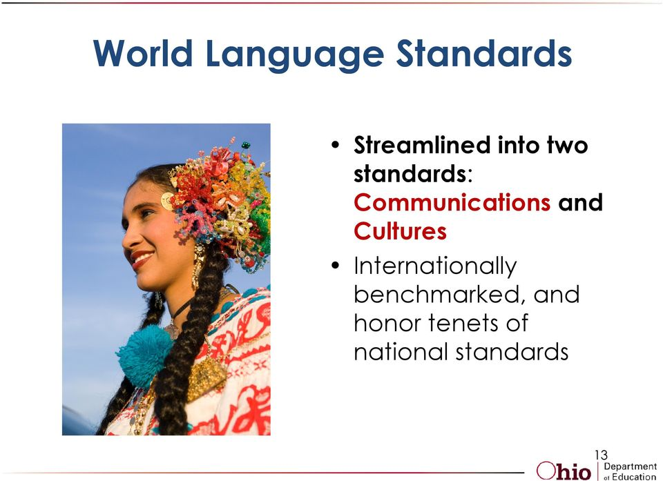 Cultures Internationally benchmarked,