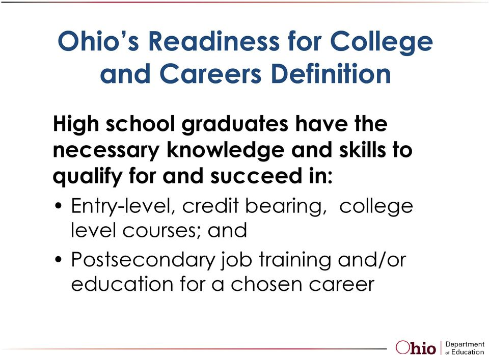 and succeed in: Entry-level, credit bearing, college level