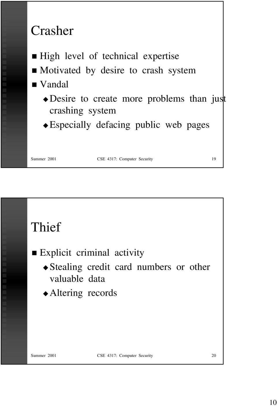 Summer 2001 CSE 4317: Computer Security 19 Thief Explicit criminal activity Stealing credit