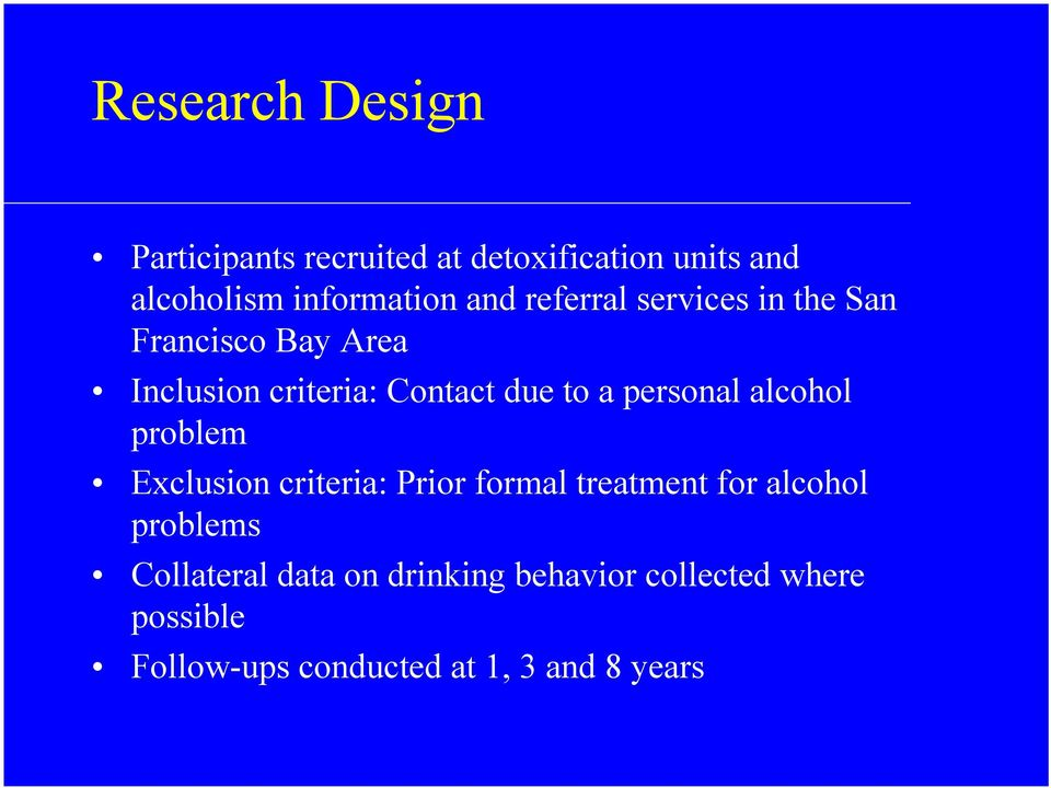 personal alcohol problem Exclusion criteria: Prior formal treatment for alcohol problems