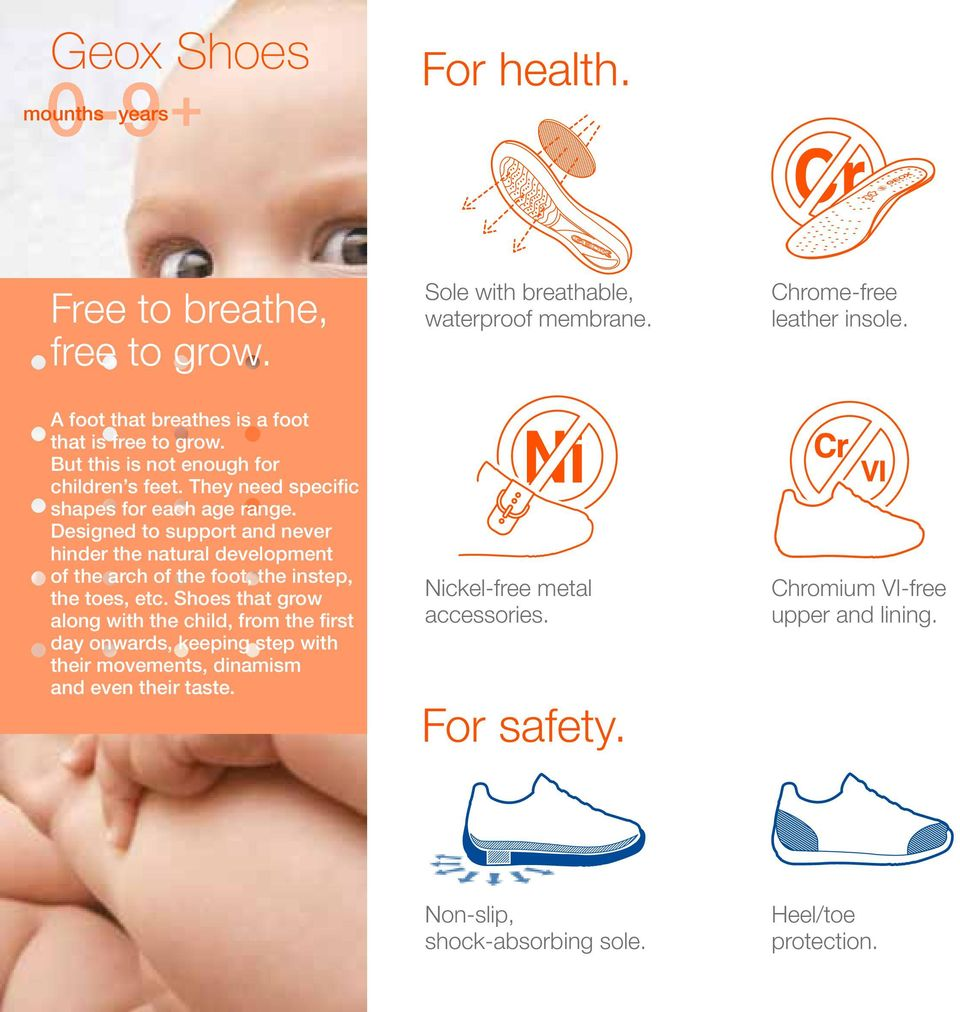 Designed to support and never hinder the natural development of the arch of the foot, the instep, the toes, etc.