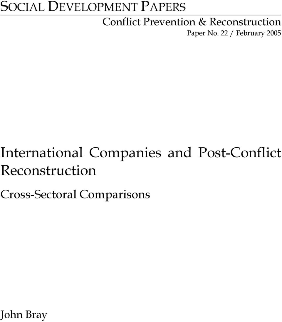 22 / February 2005 International Companies and