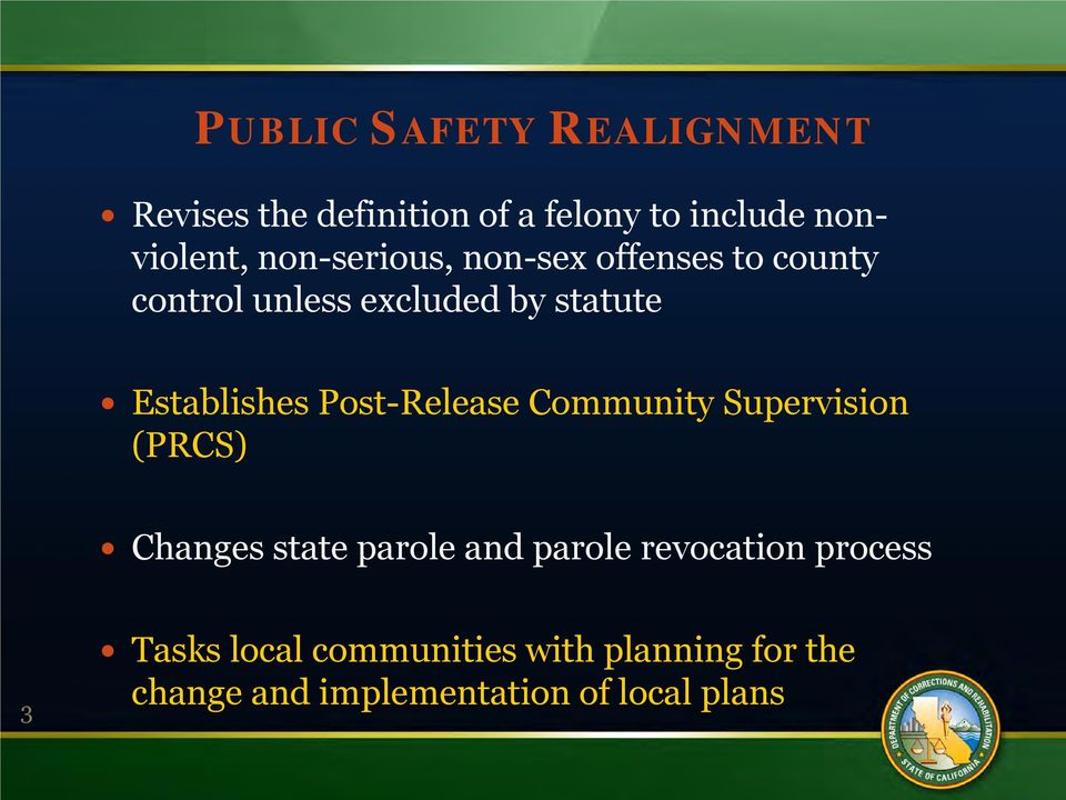 Post-Release Community Supervision (PRCS) Changes state parole and parole revocation