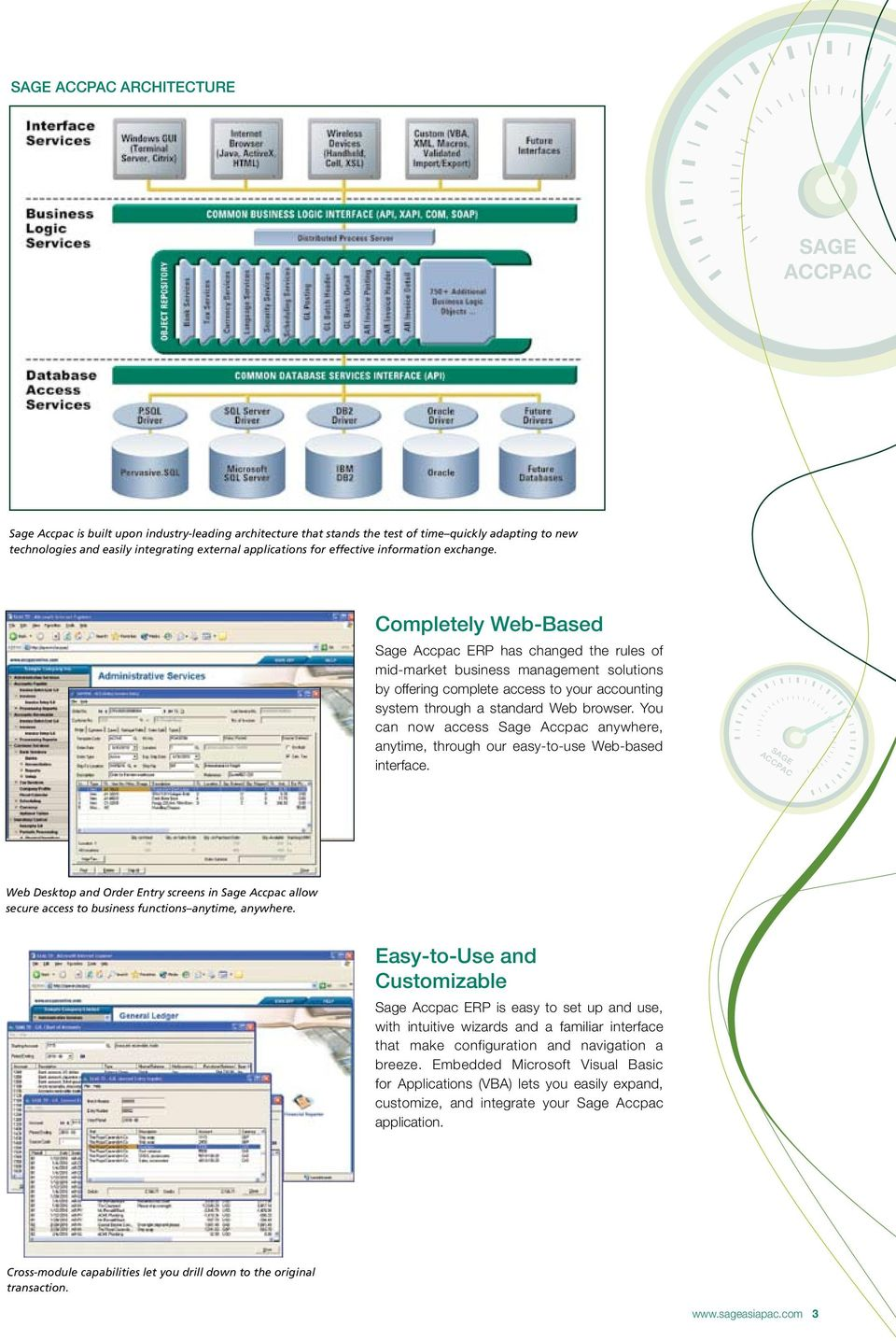 Completely Web-Based Sage Accpac ERP has changed the rules of mid-market business management solutions by offering complete access to your accounting system through a standard Web browser.