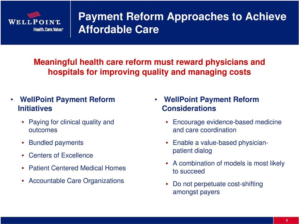 Centered Medical Homes Accountable Care Organizations WellPoint Payment Reform Considerations Encourage evidence-based medicine and care
