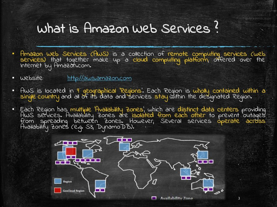 com. Website: http://aws.amazon.com AWS is located in 9 geographical 'Regions.