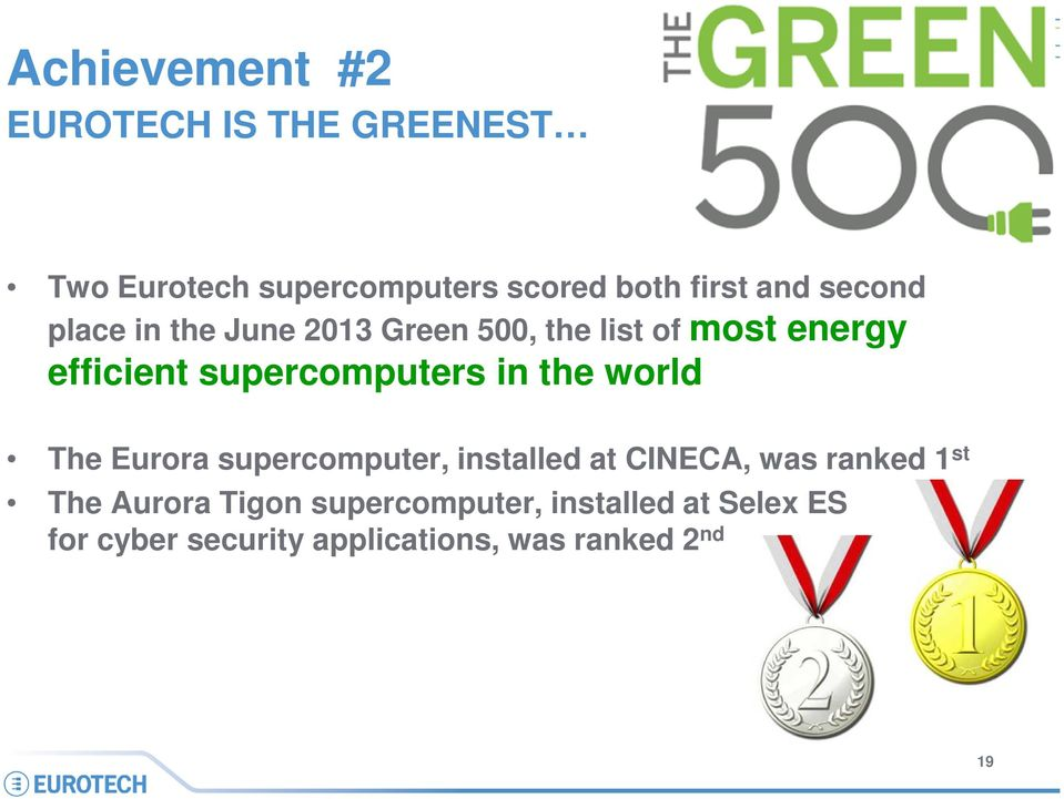 in the world The Eurora supercomputer, installed at CINECA, was ranked 1 st The Aurora