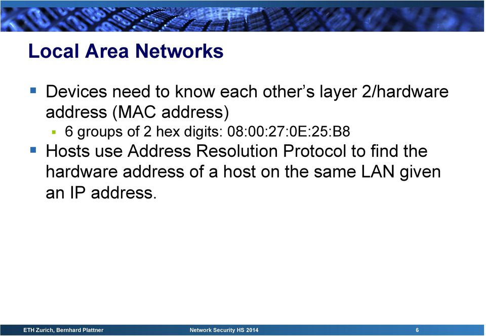 Resolution Protocol to find the hardware address of a host on the same LAN given
