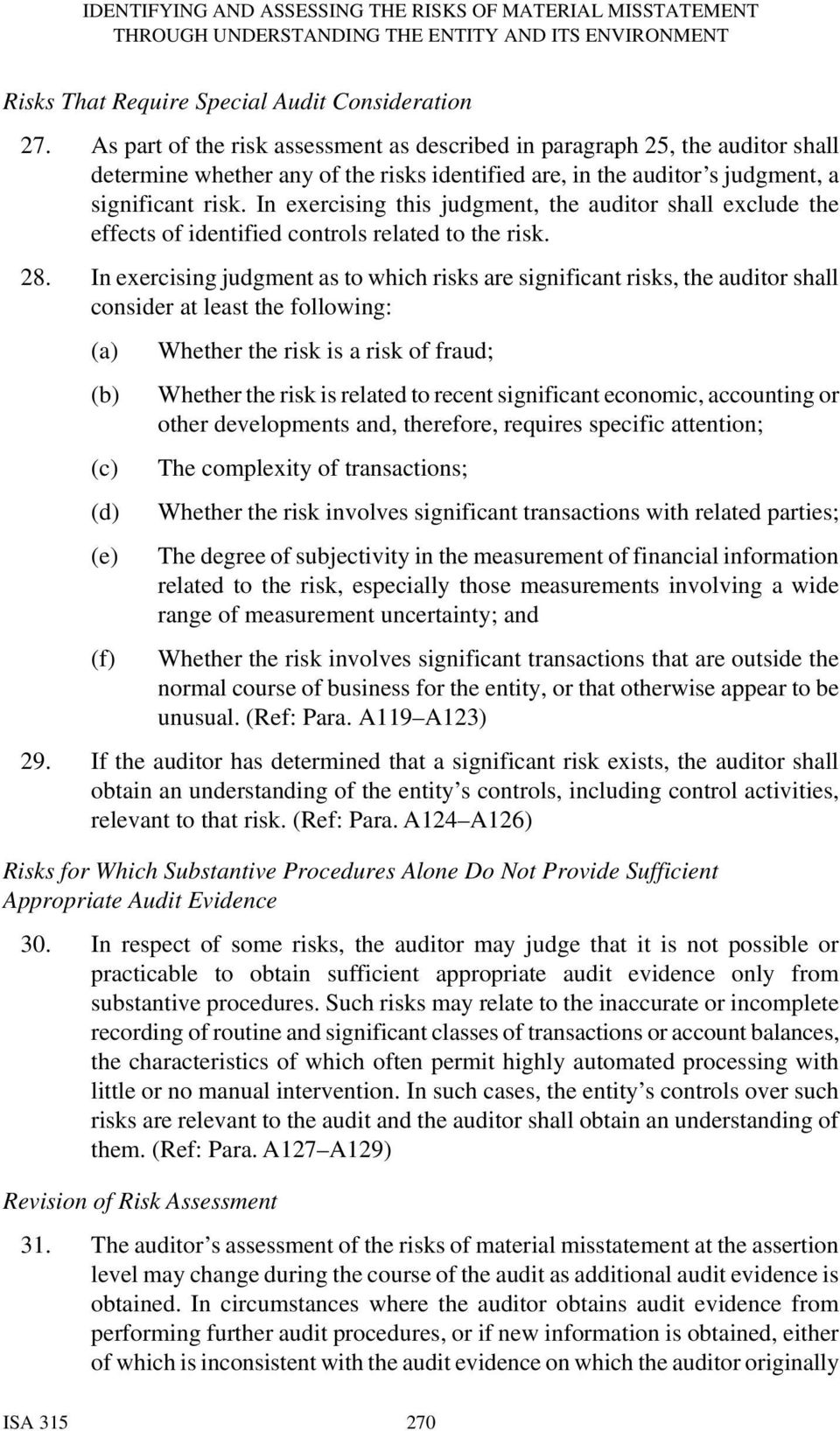 In exercising this judgment, the auditor shall exclude the effects of identified controls related to the risk. 28.