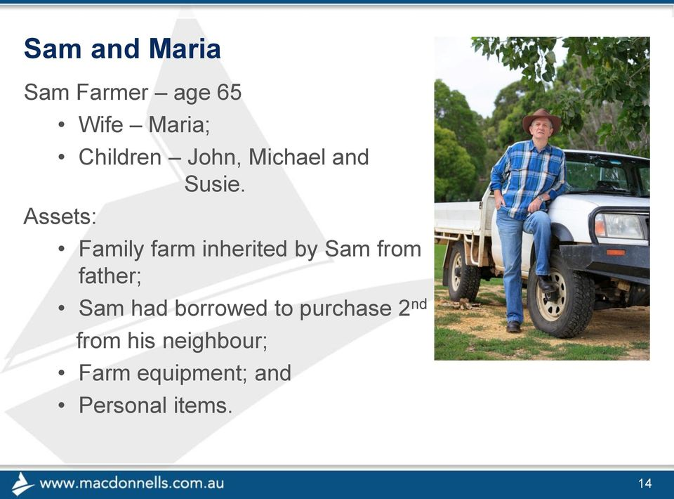 Assets: Family farm inherited by Sam from father; Sam