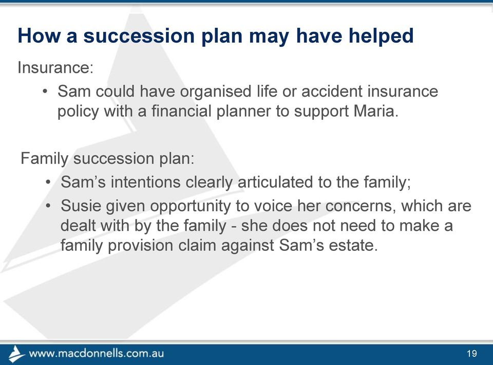 Family succession plan: Sam s intentions clearly articulated to the family; Susie given