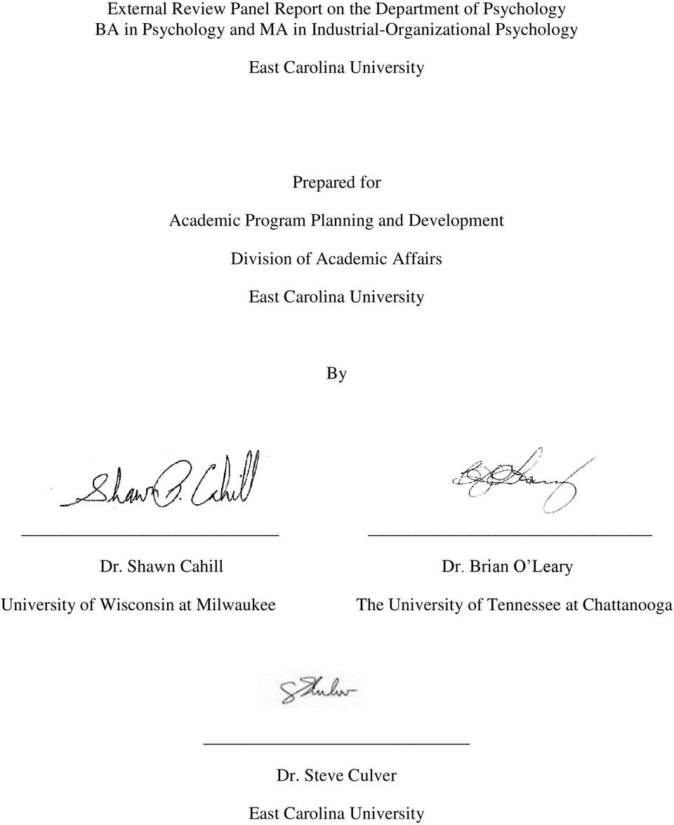 Development Division of Academic Affairs East Carolina University By Dr.