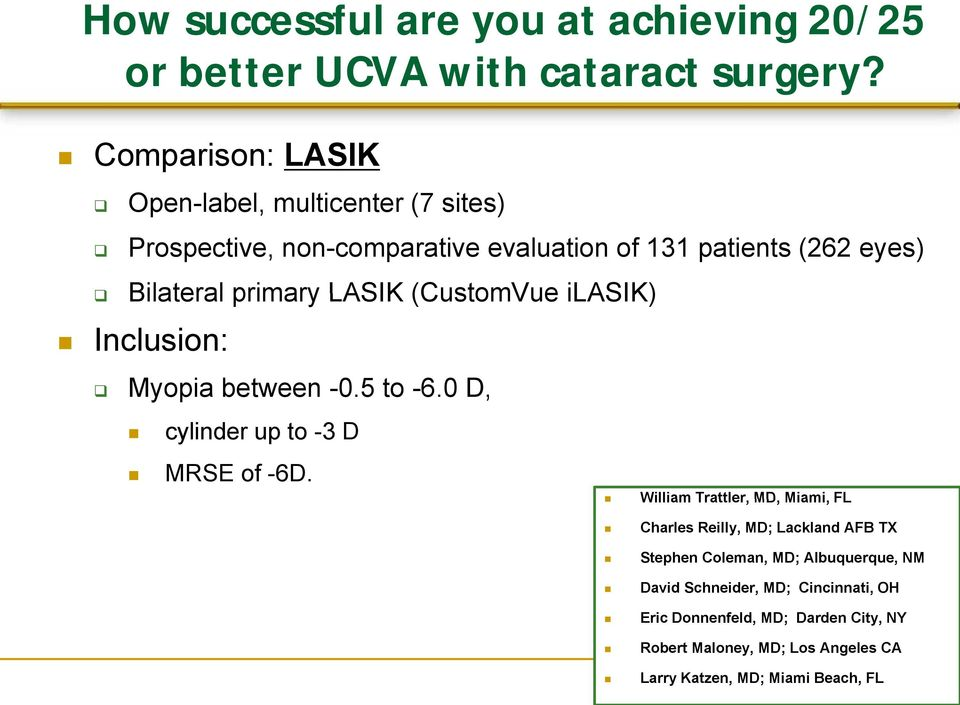 LASIK (CustomVue ilasik) Inclusion: Myopia between -0.5 to -6.0 D, cylinder up to -3 D MRSE of -6D.