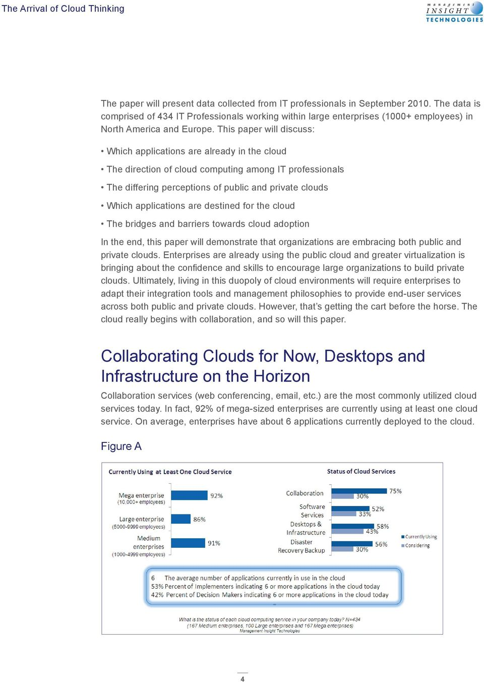 This paper will discuss: Which applications are already in the cloud The direction of cloud computing among IT professionals The differing perceptions of public and private clouds Which applications