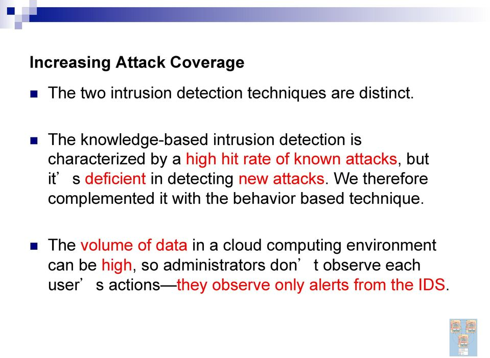deficient in detecting new attacks. We therefore complemented it with the behavior based technique.