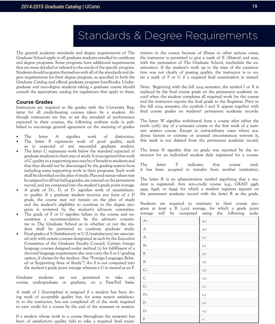 Students should acquaint themselves with all of the standards and degree requirements for their degree program, as specified in both the Graduate Catalog and official graduate program handbooks.