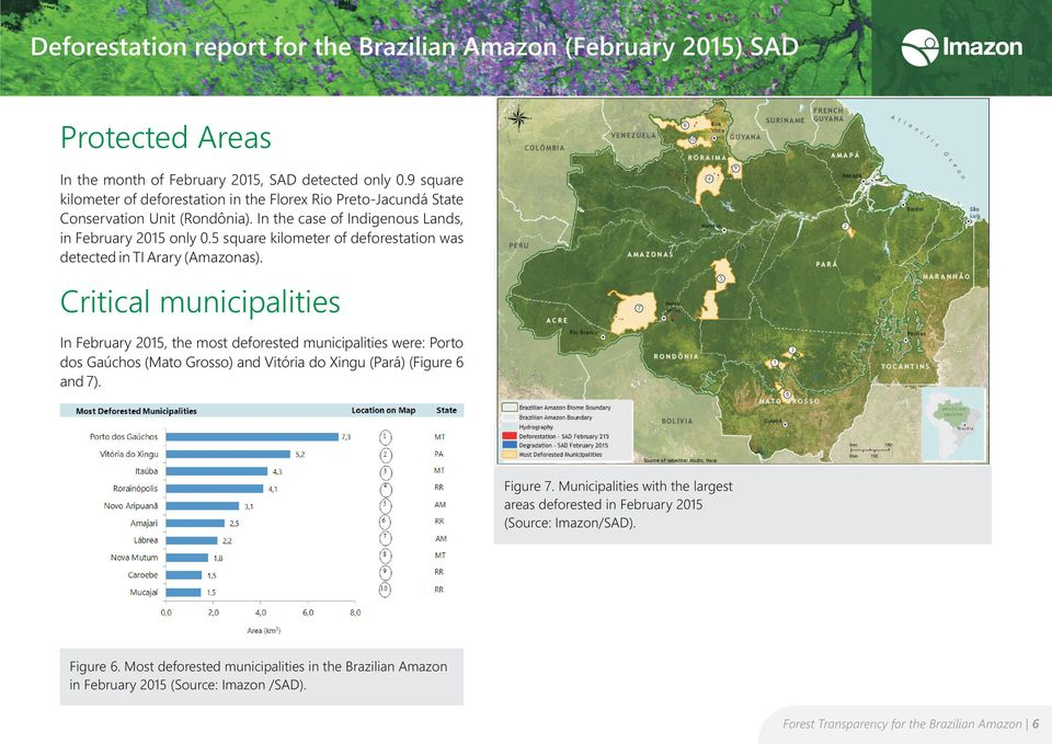 Critical municipalities In February 2015, the most deforested municipalities were: Porto dos Gaúchos (Mato Grosso) and Vitória do Xingu (Pará) (Figure 6 and 7). Figure 7.