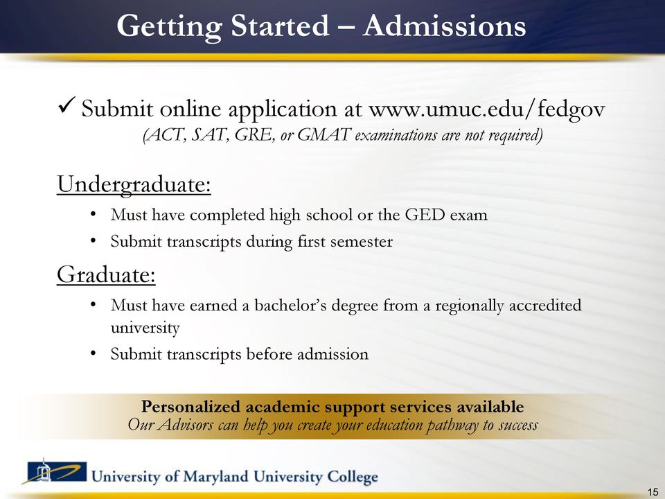 the GED exam Submit transcripts during first semester Graduate: Must have earned a bachelor s degree from a regionally