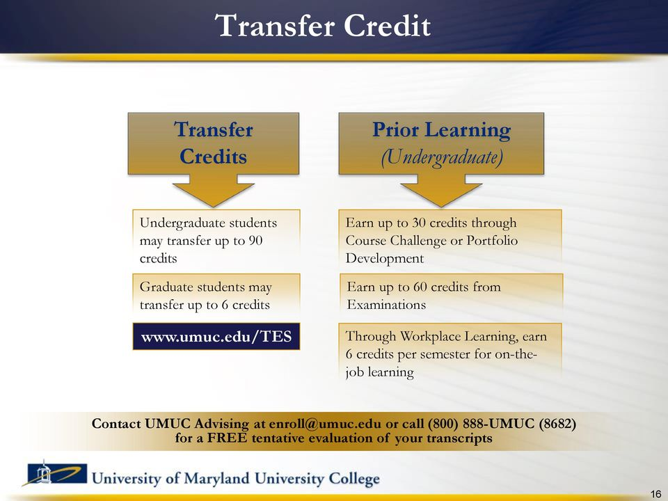 edu/tes Earn up to 30 credits through Course Challenge or Portfolio Development Earn up to 60 credits from Examinations