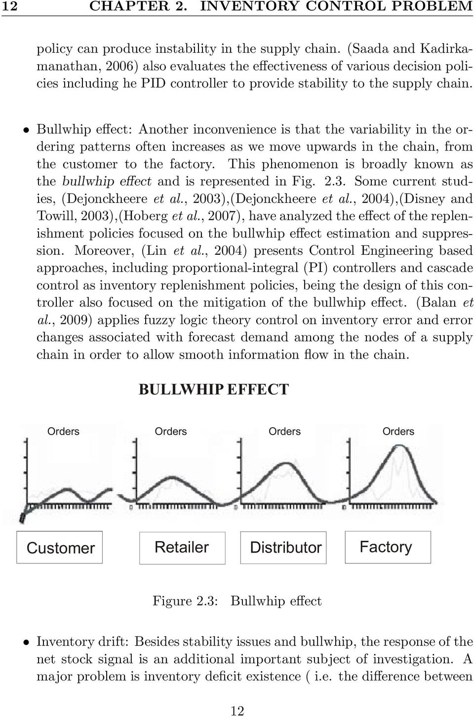 Bullwhip effect: Another inconvenience is that the variability in the ordering patterns often increases as we move upwards in the chain, from the customer to the factory.