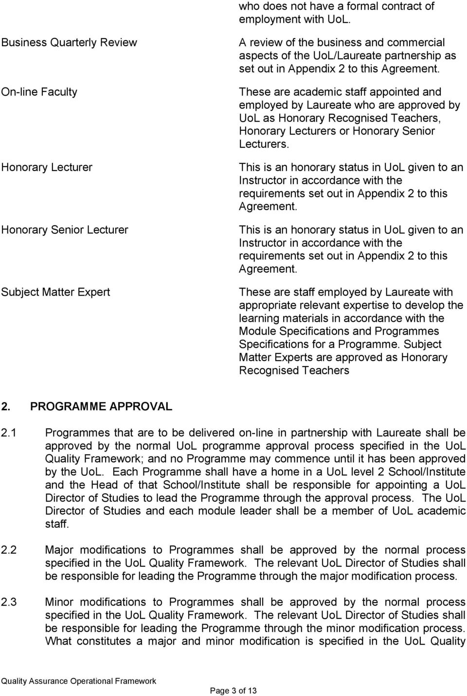 in Appendix 2 to this Agreement. These are academic staff appointed and employed by Laureate who are approved by UoL as Honorary Recognised Teachers, Honorary Lecturers or Honorary Senior Lecturers.