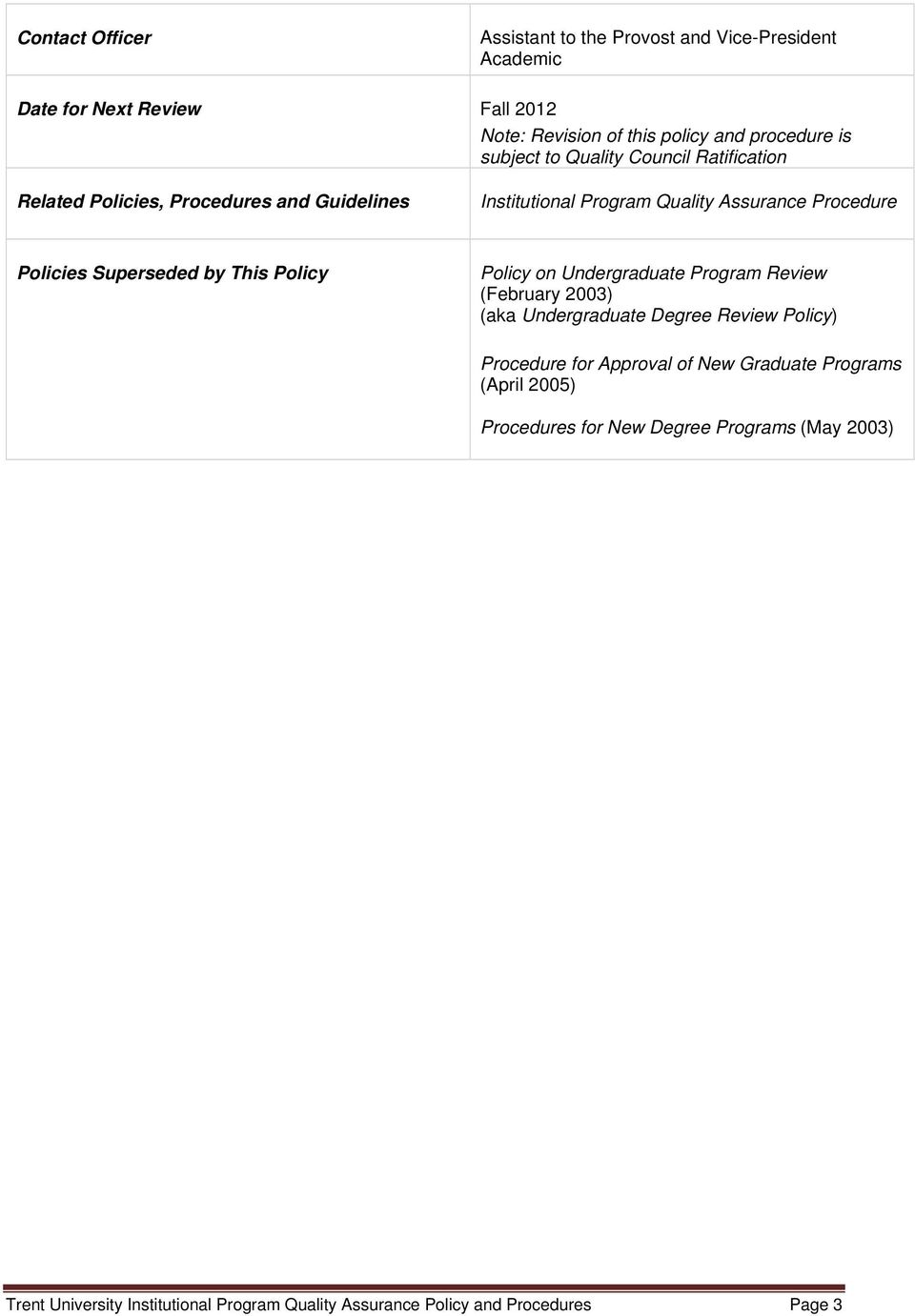 Superseded by This Policy Policy on Undergraduate Program Review (February 2003) (aka Undergraduate Degree Review Policy) Procedure for Approval of