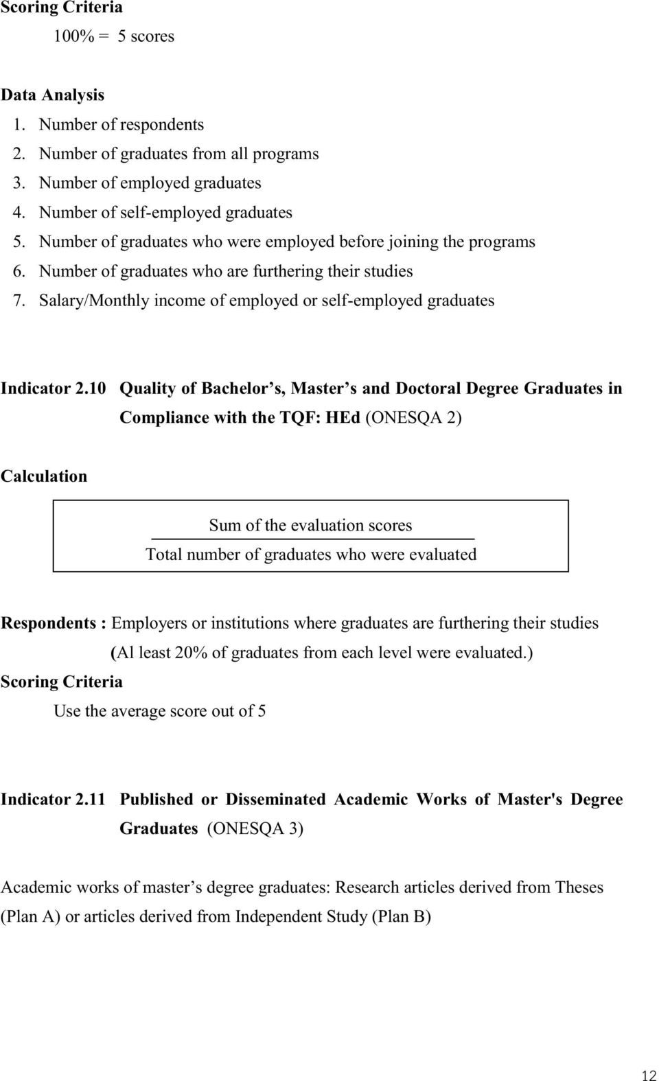 10 Quality of Bachelor s, Master s and Doctoral Degree Graduates in Compliance with the TQF: HEd (ONESQA 2) Calculation Sum of the evaluation scores Total number of graduates who were evaluated