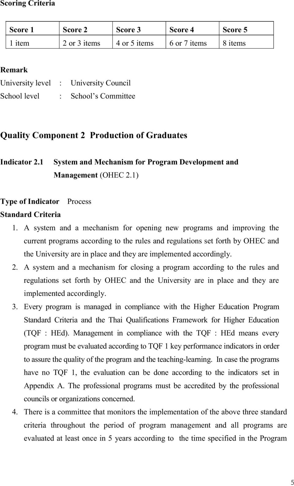 A system and a mechanism for opening new programs and improving the current programs according to the rules and regulations set forth by OHEC and the University are in place and they are implemented