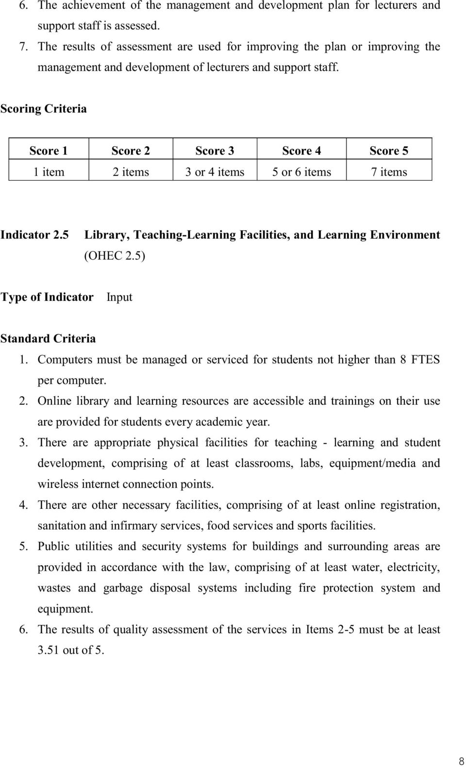 5 Library, Teaching-Learning Facilities, and Learning Environment (OHEC 2.