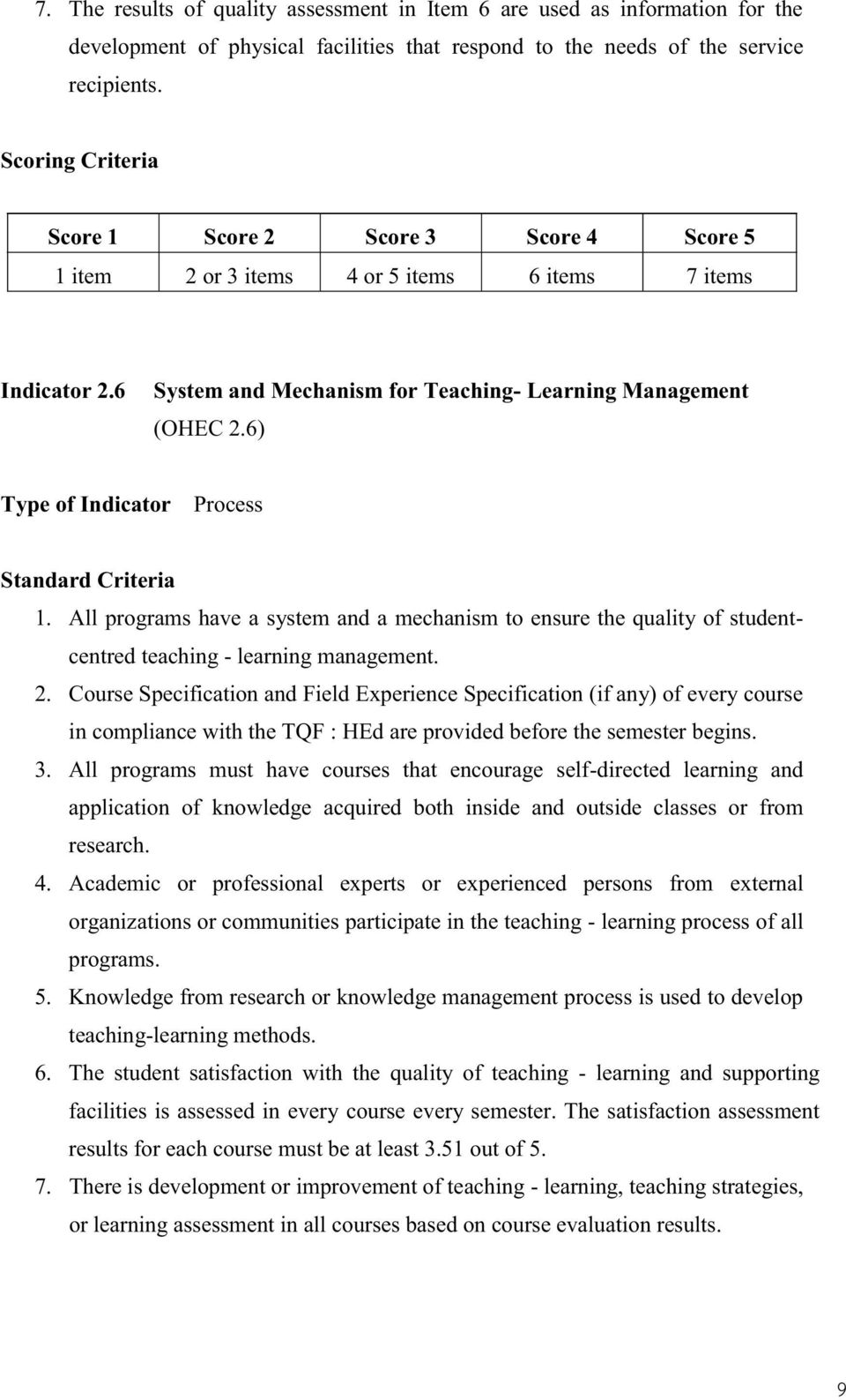 All programs have a system and a mechanism to ensure the quality of studentcentred teaching - learning management. 2.