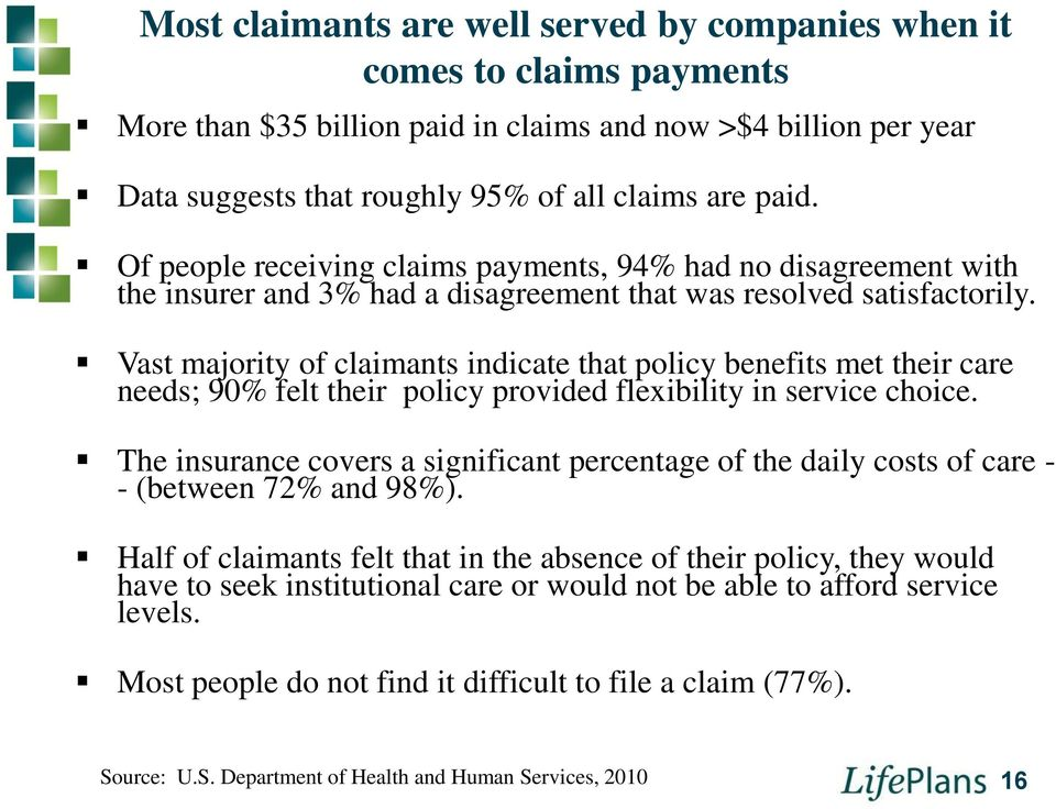 Vast majority of claimants indicate that policy benefits met their care needs; 90% felt their policy provided flexibility in service choice.