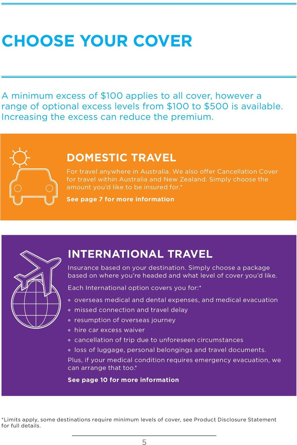 * See page 7 for more information INTERNATIONAL TRAVEL Insurance based on your destination. Simply choose a package based on where you re headed and what level of cover you d like.
