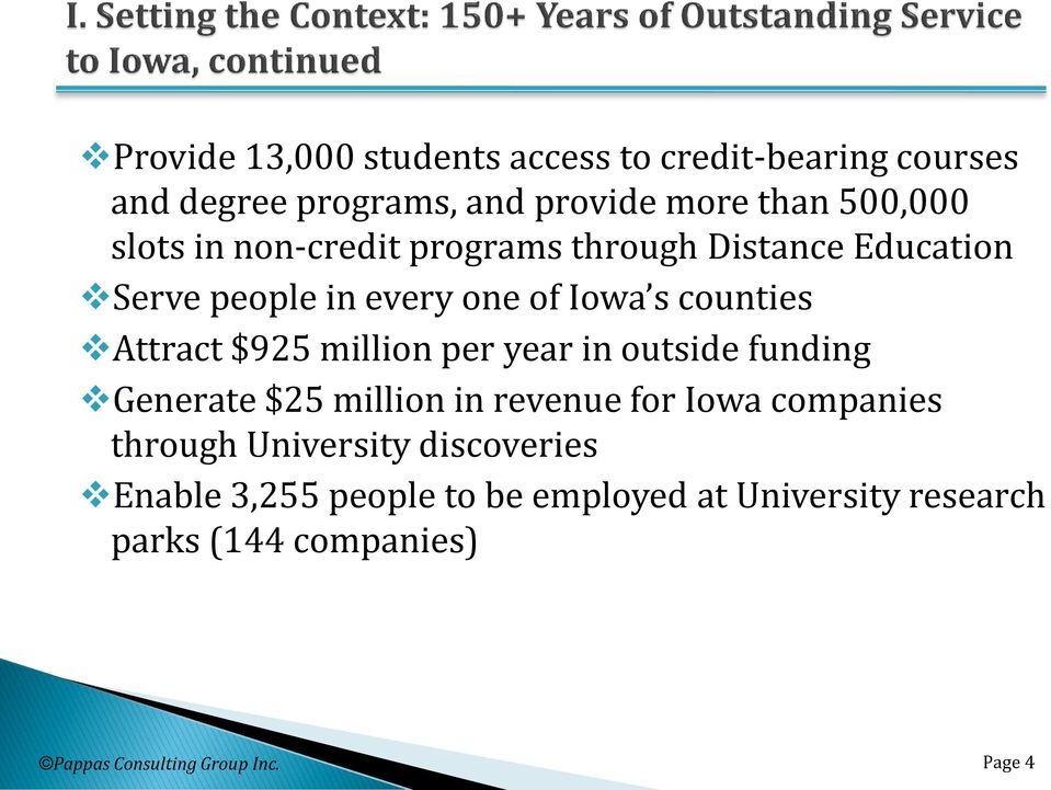 million per year in outside funding Generate $25 million in revenue for Iowa companies through University