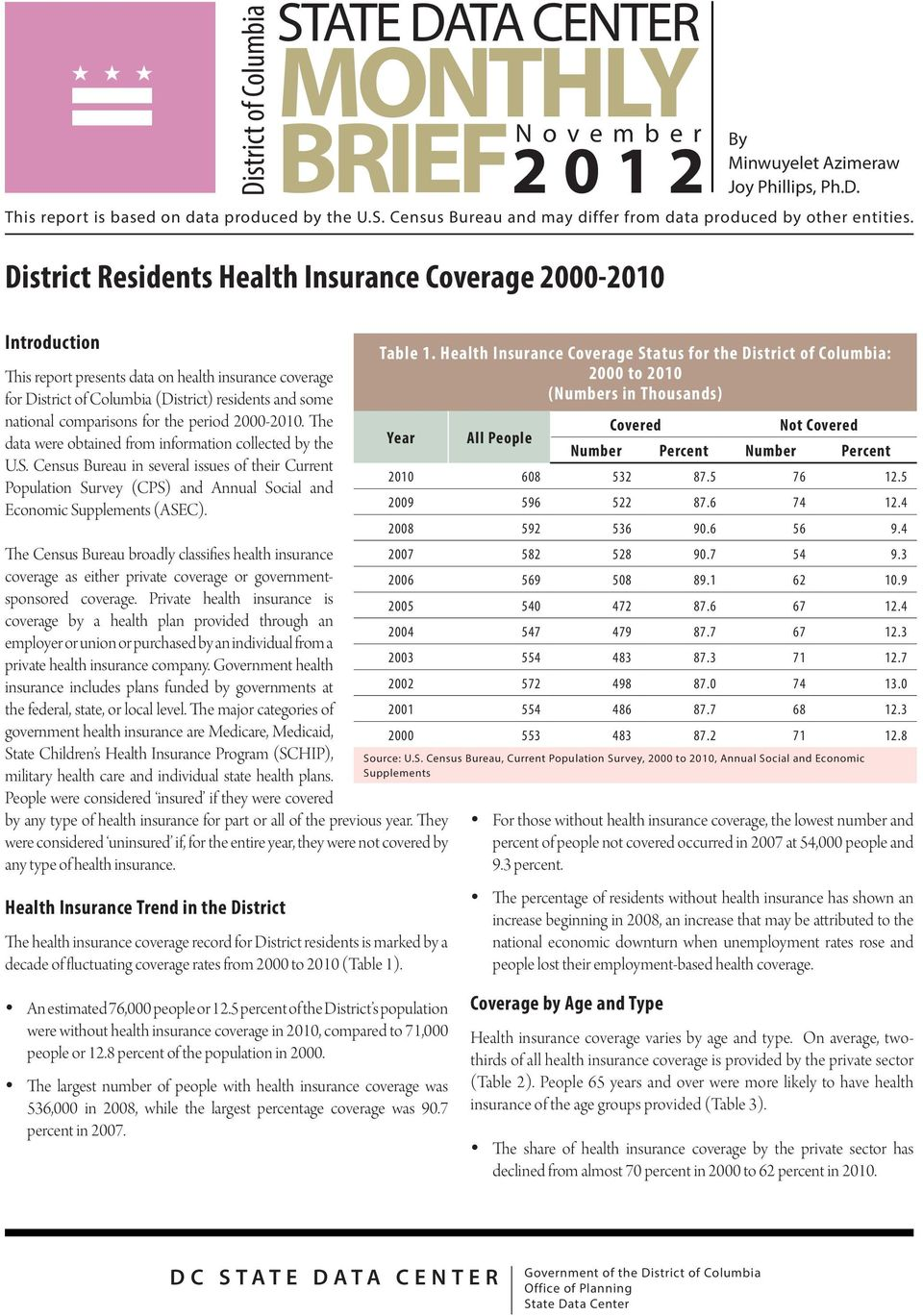 Introduction This report presents data on health insurance coverage for District of Columbia (District) residents and some national comparisons for the period 2000-2010.