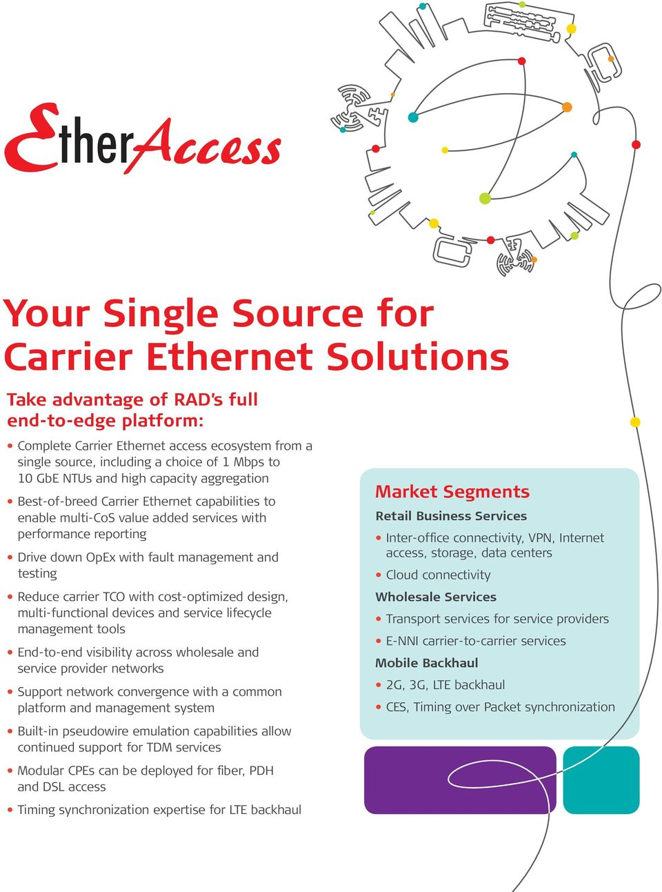 Reduce carrier TCO with cost-optimized design, multi-functional devices and service lifecycle management tools End-to-end visibility across wholesale and service provider networks Support network
