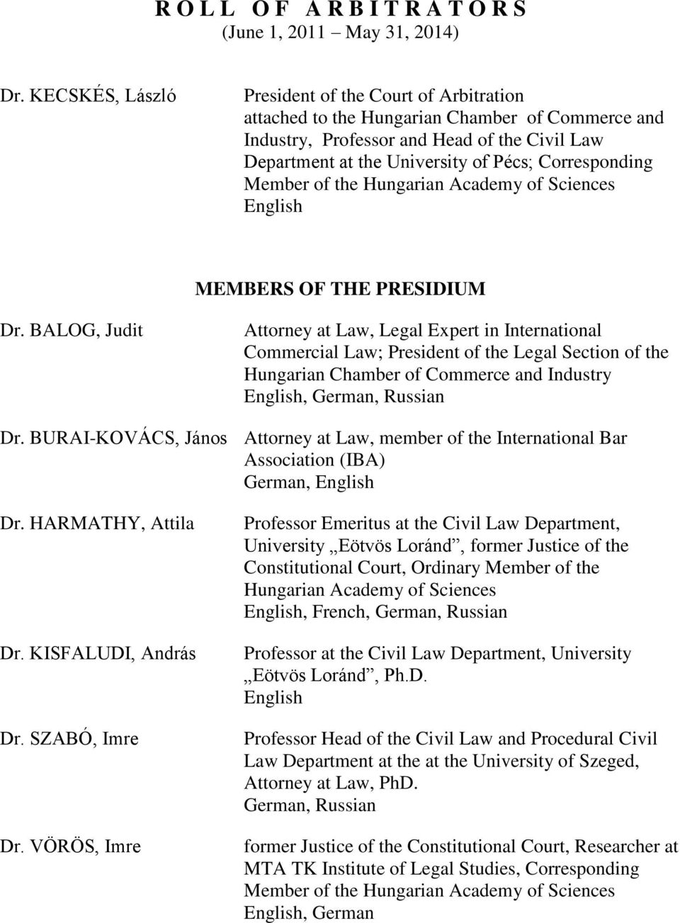Corresponding Member of the Hungarian Academy of Sciences MEMBERS OF THE PRESIDIUM Dr.