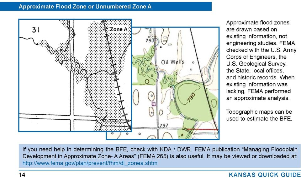 When existing information was lacking, FEMA performed an approximate analysis. Topographic maps can be used to estimate the BFE.