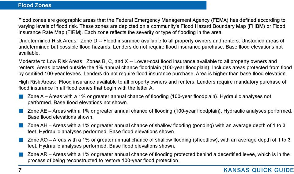 Undetermined Risk Areas: Zone D -- Flood insurance available to all property owners and renters. Unstudied areas of undetermined but possible flood hazards.