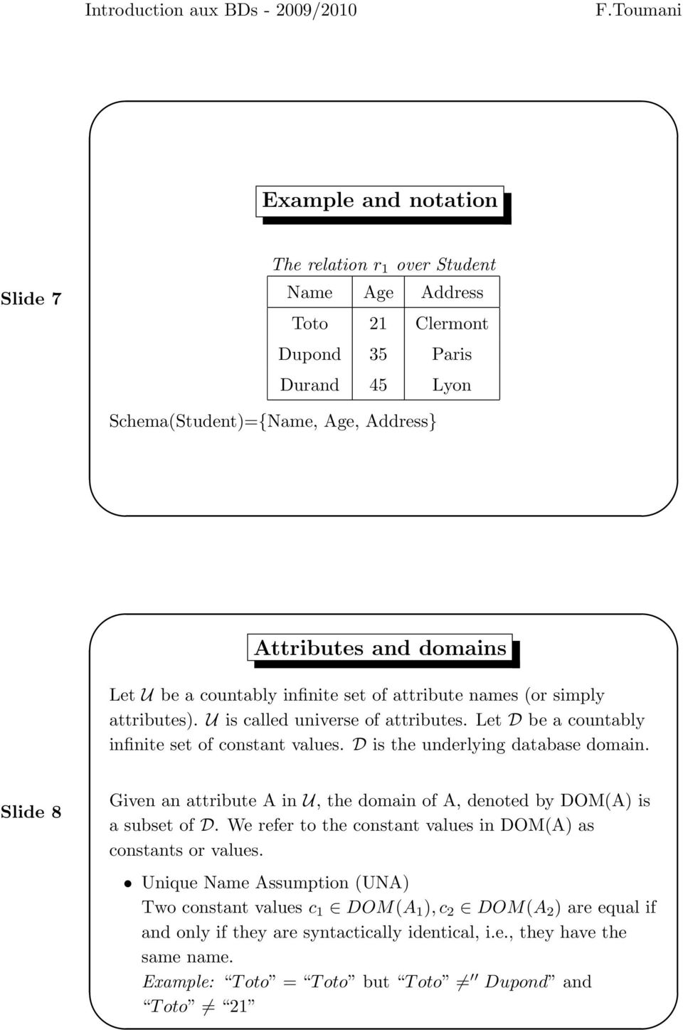 D is the underlying database domain. Slide 8 Given an attribute A in U, the domain of A, denoted by DOM(A) is a subset of D. We refer to the constant values in DOM(A) as constants or values.
