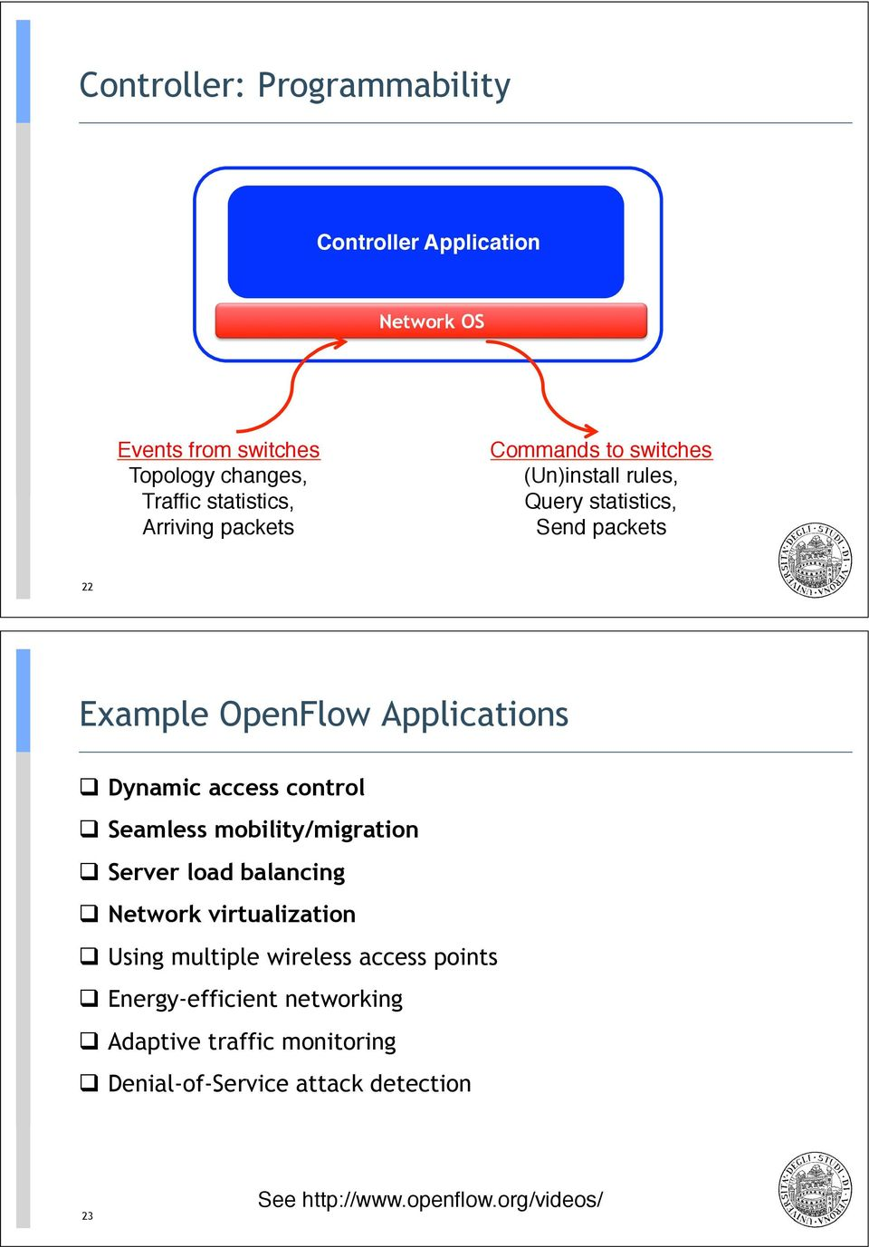 "rules,"" Query statistics,"" Send packets"" 22 Example OpenFlow Applications! Dynamic access control! Seamless mobility/migration!"